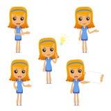 Set of funny cartoon housewife Stock Image