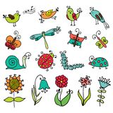 Set of funny cartoon insects isolated Royalty Free Stock Photography