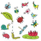 Set of funny cartoon insects isolated Stock Image