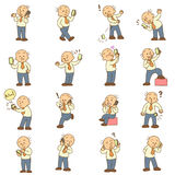 Set of funny cartoon man and mobile phone Stock Images