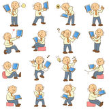 Set of funny cartoon man and tablet Stock Image
