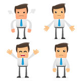 Set of funny cartoon manager. Set of funny cartoon office worker in various poses for use in presentations, etc Stock Image