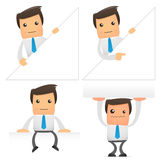 Set of funny cartoon manager. Set of funny cartoon office worker in various poses for use in presentations, etc Royalty Free Stock Images