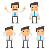 Set of funny cartoon manager. Set of funny cartoon office worker in various poses for use in presentations, etc Stock Photos