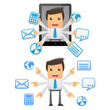 Set of funny cartoon manager. Set of funny cartoon office worker in various poses for use in presentations, etc Stock Photo