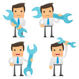 Set of funny cartoon manager. Set of funny cartoon office worker in various poses for use in presentations, etc Royalty Free Stock Photography