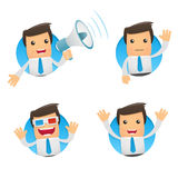 Set of funny cartoon manager. Set of funny cartoon office worker in various poses for use in presentations, etc Royalty Free Stock Image