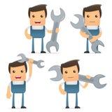 Set of funny cartoon mechanic Royalty Free Stock Images