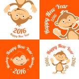 Set of funny cartoon monkey is flat. The symbol of Royalty Free Stock Photos