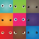 Set of funny cartoon monster eyes Stock Images