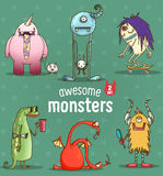 Set of funny cartoon monsters Royalty Free Stock Photography