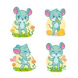 Set of funny cartoon mouses for children educational games Royalty Free Stock Photo