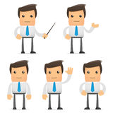 Set of funny cartoon office worker. In various poses for use in presentations, etc Royalty Free Stock Photo