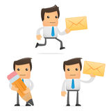 Set of funny cartoon office worker Stock Image