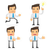 Set of funny cartoon office worker. In various poses for use in presentations, etc Stock Images
