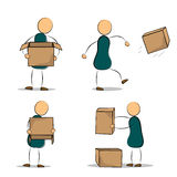 Set of funny cartoon office worker with boxes Stock Photos