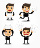 Set of funny cartoon office worker with email icon. Drawing Stock Photography