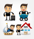 Set of funny cartoon office worker go to travel Royalty Free Stock Photography
