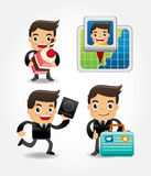 Set of funny cartoon office worker go to travel Stock Photos