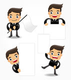 Set of funny cartoon office worker icon Stock Images