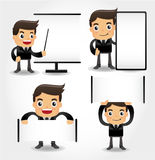 Set of funny cartoon office worker icon Royalty Free Stock Image