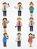 Set of funny cartoon office worker talk with Micro Royalty Free Stock Image