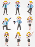 Set of funny cartoon office worker talk with Micro Stock Photos
