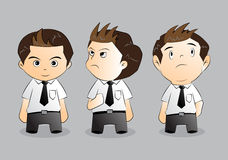 Set of funny cartoon office worker in various poses Royalty Free Stock Photo