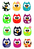Set of funny cartoon owls, game style Royalty Free Stock Photography