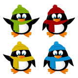 Set of funny cartoon penguins Royalty Free Stock Image