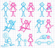Set of funny cartoon people. Royalty Free Stock Images