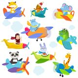 Set of funny cartoon planes with cute pilots royalty free illustration