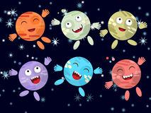 Set of funny cartoon planet on a dark background. Vector Stock Photos