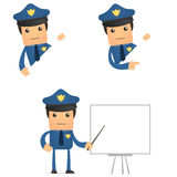 Set of funny cartoon policeman Stock Image