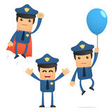 Set of funny cartoon policeman Royalty Free Stock Images