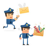 Set of funny cartoon policeman Stock Images