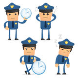 Set of funny cartoon policeman Stock Photography