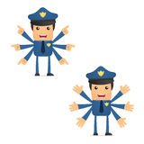 Set of funny cartoon policeman Royalty Free Stock Photography