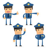 Set of funny cartoon policeman Stock Photos