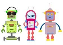 Set of funny cartoon robots art illustration  Stock Photography