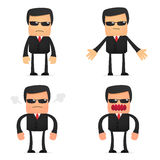 Set of funny cartoon security. In various poses for use in presentations, etc Royalty Free Stock Photography