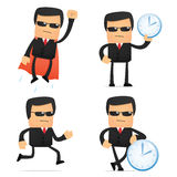 Set of funny cartoon security. In various poses for use in presentations, etc Royalty Free Stock Photo