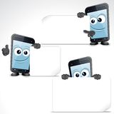 Set of Funny Cartoon Smart Phone. Vector Clip Art Royalty Free Stock Photography