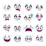 Set of funny cartoon vector comic faces Royalty Free Stock Image