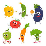 Set of funny cartoon vegetables doing sport. Set of vegetables doing sport - bell pepper, cucumber, eggplant, tomato, apple, carrot, broccoli, cartoon vector royalty free illustration