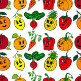 Set of 10 funny cartoon vegetables and fruit Royalty Free Stock Photography