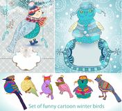 Set of funny cartoon winter birds Royalty Free Stock Photos