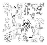 set of funny cartoons, Vector illustration. Royalty Free Stock Image