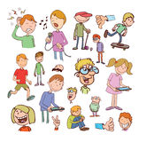 Set of funny cartoons, Vector illustration Royalty Free Stock Image