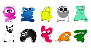 A set of funny cats. Funny cartoon and vector animal characters. Isolated objects Royalty Free Stock Images